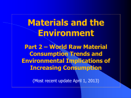 World Raw Material Consumption Trends and Environmental