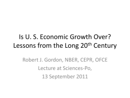 Is US Economic Growth Over? - OFCE
