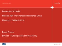 National Activity Based Funding Implementation Reference Group
