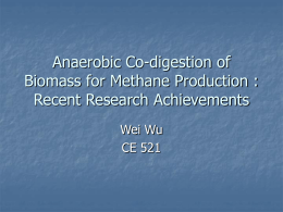 Anaerobic Co-digestion of Biomass for Methane Production