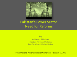 Kalim A Siddiqui Pakistan`s Power Sector Need