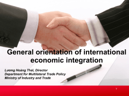 Directions of international economic integration for Viet Nam and the