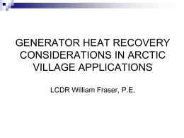 WASTE HEAT SYSTEM DESIGN CONSIDERATIONS