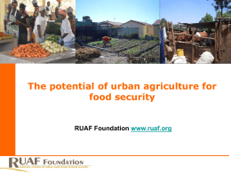 Potential of Urban Agriculture for Food and Nutrition Security