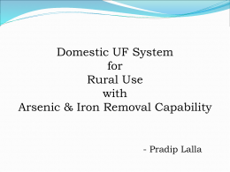 Domestic UF System for Rural Use with Arsenic & Iron Removal