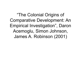 Daron Acemoglu, Simon Johnson, James A. Robinson (2001)