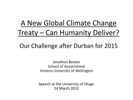 A New Global Climate Change Treaty – Can Humanity Deliver