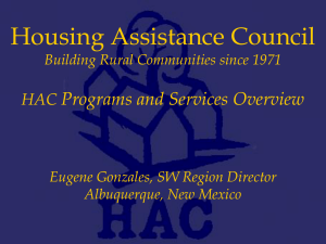 Session II - Housing Assitance Council Programs Services Overview