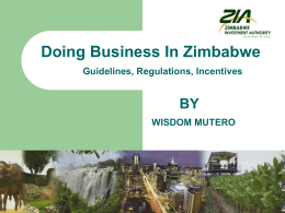 Doing Business In Zimbabwe Guidelines, Regulations, Incentives