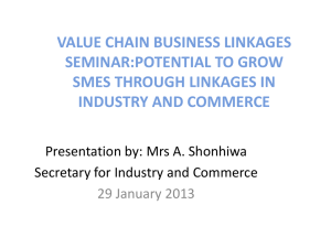 Potential to grow SMEs though linkages in Industry and Commerce