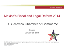 Mexico`s Fiscal and Legal Reform 2014
