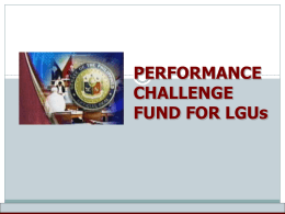 Performance Challenge Fund for LGUs