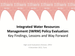 IWRM Policy Evaluation: Preliminary Findings