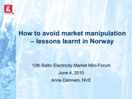 How to avoid market manipulation – lessons learnt in Norway
