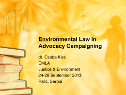 Environmental Law in Advocacy Campaigning