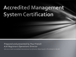 IAF/UKAS Accredited Management System Certification including
