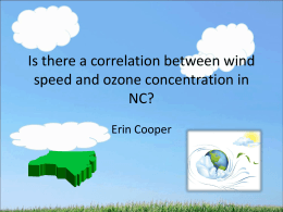 Is there a correlation between wind speed and ozone concentration