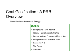 Coal Gasification – A PRB Overview
