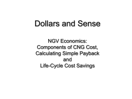 Dollars and Sense NGV Economics: Components of CNG Cost