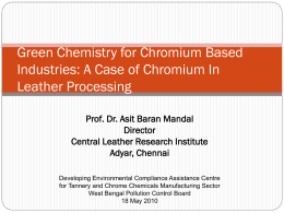 Green Chemistry for Chromium Based Industries