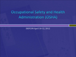 Occupational Safety and Health Administration (OSHA) Office of
