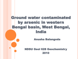 Groundwater Contamination by As in West Bengal, India