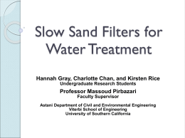 Slow Sand Filters for Water Treatment