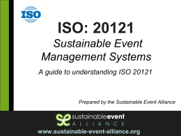 ISO: 20121 Sustainable Event Management Systems