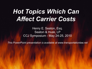 Hot Topics Which Can Affect Carrier Cost