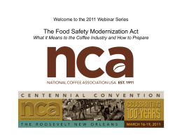 Food Safety Reform - National Coffee Association of U.S.A.