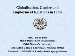 Globalisation, Gender and Employment Relations in India