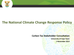 The National Climate Change Response Policy – - erc