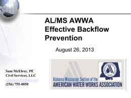 Backflow Prevention - AL/MS Section of AWWA