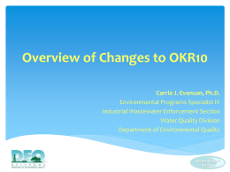 Overview of Changes to OKR10 - the Oklahoma Department of