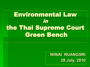 Environmental Law in the Thai Supreme Court Green Bench