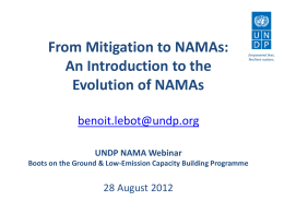 From mitigation to NAMAs - Low Emission Capacity Building