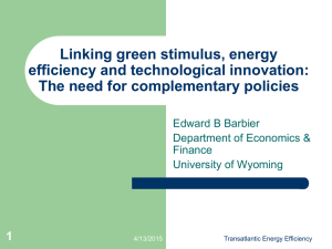 Linking green stimulus, energy efficiency and technological
