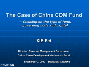 The Case of China CDM Fund - USAID Adapt Asia