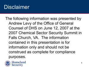 Introduction to Chemical-terrorism Vulnerability Information (CVI)
