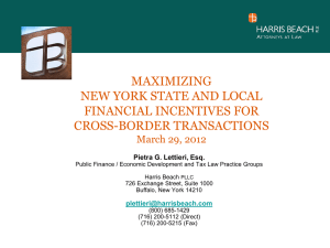 Maximizing New York State and Local Financial Incentives for Cross