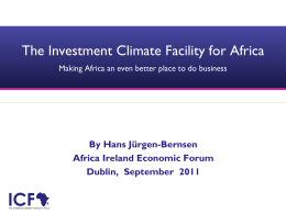 The Investment Climate Facility for Africa