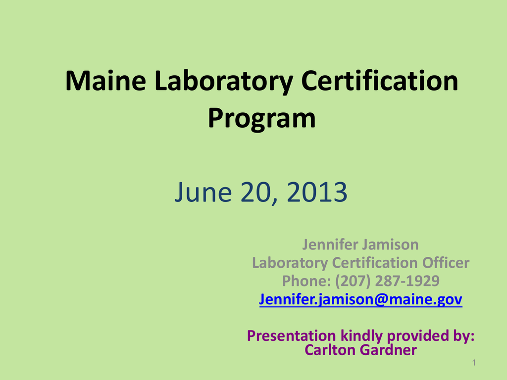 Maine Laboratory Certification Program