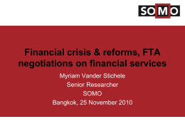 Financial crisis & reforms, FTA negotiations on financial services