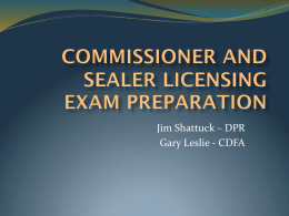 Commissioner and Sealer Licensing Exam Preparation