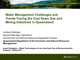 Challenges for Queensland CSG and Mining