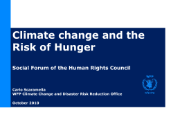 Climate Change and Disaster Risk Reduction Programming in WFP