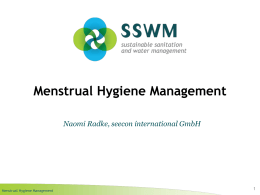 Menstrual Hygiene Management - Sustainable Sanitation and Water