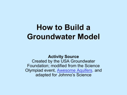 How to Build a Groundwater Model Activity Source