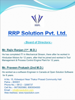 Company Profile - Services Offered For Security Service Sector