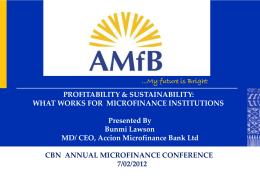 PROFITABILITY & SUSTAINABILITY